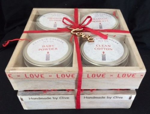 4 Candle Wooden Gift Crate - 'love'